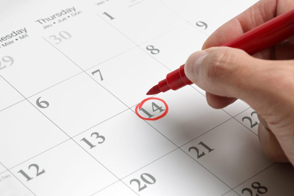 Calendario de eventos de odontología